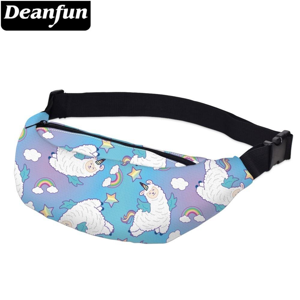 Deanfun Waterproof Rainbow Unicorn Adjustable Belt Fanny Packs Woman Llama Waist Pack Alpaca Gift Hip Bum Bag  YB66