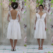 Vestido Noiva Curto Long Sleeve Wedding Dress Knee Length 2019 Sexy Beach Backless Wedding Gowns lORIE Short Bridal Dresses