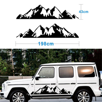 2x Black Snow Mountain decal Vinyl Sticker for Off Road Camper Van Motorhome