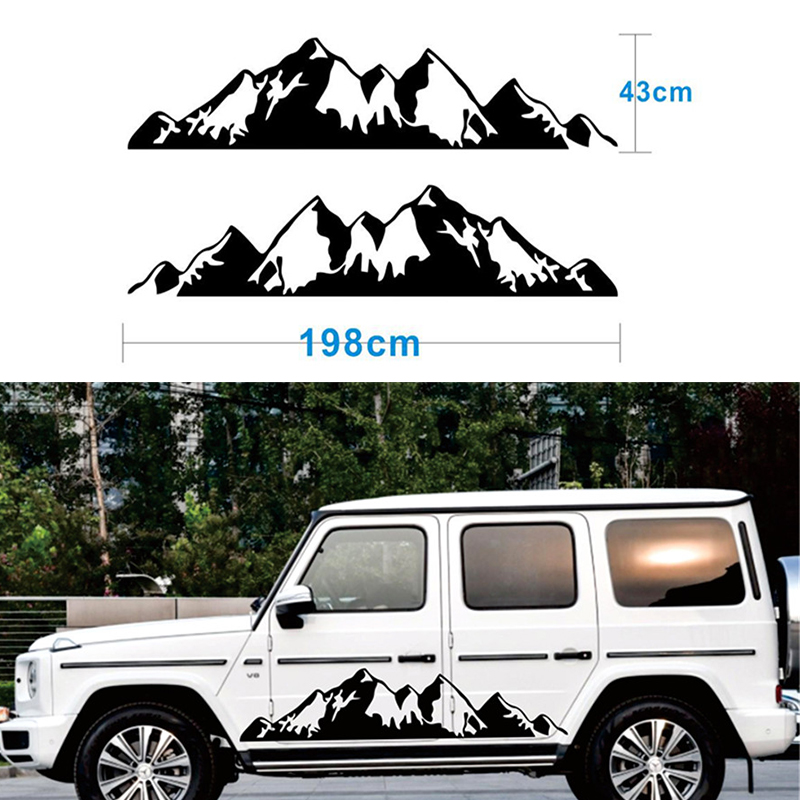 2x Black Snow Mountain <font><b>decal</b></font> Vinyl <font><b>Sticker</b></font> for Off Road Camper Van <font><b>Motorhome</b></font> image