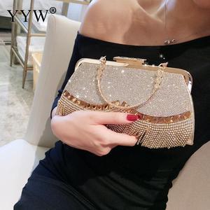 Image 3 - Steentjes Kwastje Clutch Bag Vrouwen Gold Fashion Party Wedding Handtas En Portemonnee Avondtassen Kralen Metalen Luxe Elegante Tas