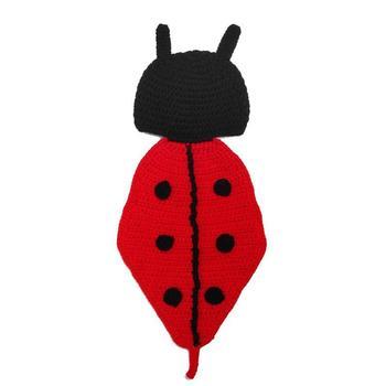Noworodki Beetle fotografia rekwizyty kapelusz + tkaniny dziewczynek chłopców dzianiny zdjęcie z kreskówek rekwizyty kostium Prop zestaw akcesoria dla dzieci