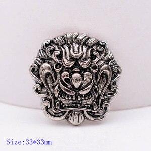 10 шт., 33*33 мм, набор из серебристых кожаных заклепок с украшением в виде головы дракона, кошелек, седло для верховой езды, с винтовой спинкой