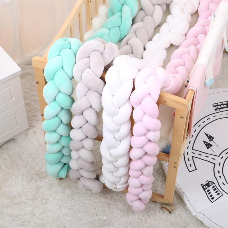 Newborn Baby Bed Bumper Infant Room Decor Crib Protector Pacification Toy Pure Color Weaving Knot For Kids Bedding
