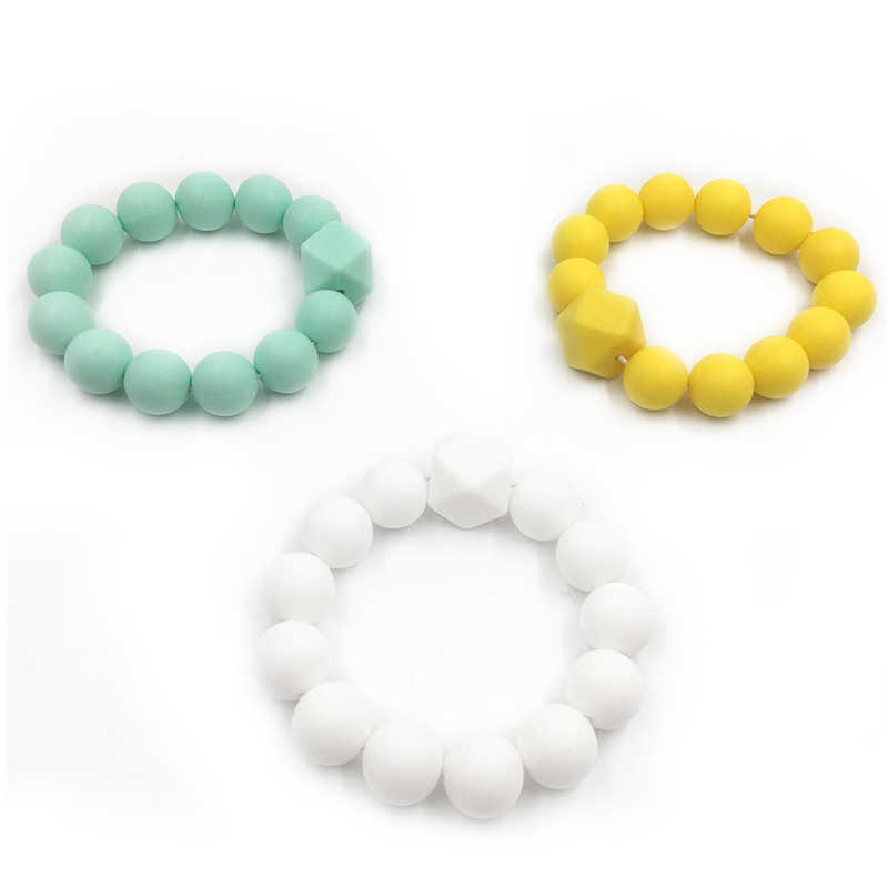 1 piece silicone beads 15mm Silicone Hexagon Baby Pacifier Dummy Teething Beads DIY Bracelets Chewing Jewelry Teethers Necklace