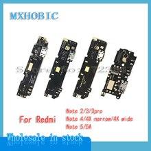10 Uds puerto de conector USB Dock Charging Flex Cable para Redmi nota 2 3 6 7 8 Pro 4 4G 4X estrecho ancho 5 5A placa del cargador PCB Flex