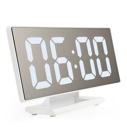 New Upgrate Digital Alarm Clock LED Mirror Clock Multifunction Snooze Display Time Night Led Table Desktop alarm clock(white)
