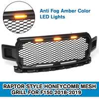 Modified Front Racing Grille Raptor Grills Mask with LED light Fits For Ford F150 2018 2019 Auto Grille Accessories
