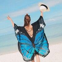 3D Print Woman Japanese Style Kimono Coat Butterfly Print Beach Wear Pullover&cardigan Haori Belly Dance Costumes Chiffon Tops
