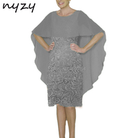 NYZY M46C Wedding Party Dress Guest Wear Robe Cocktail Short Grey Mother of the Bride Dresses Groom Mother Outfits Cape Sleeves