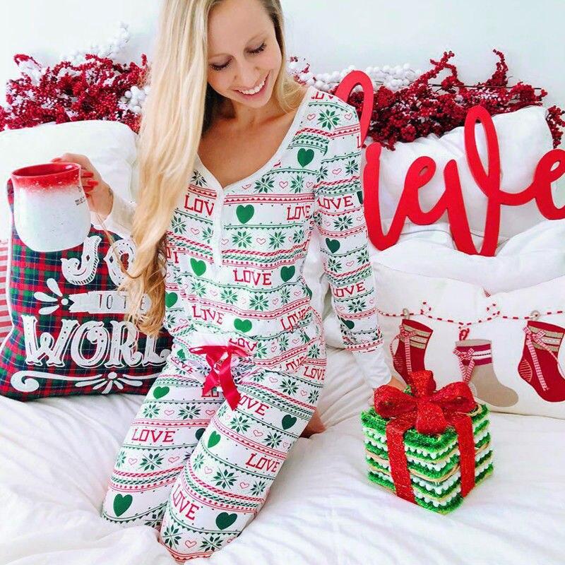 New Woemn 2Pcs Christmas Pajama Sets Xmas Nightwear Pajamas Santa Snowflake  Ladies Pyjamas Matching Sleepwear Pjs Xmas Sets ac20b2234