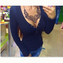 Summer Women Casual T-Shirts HOT Long Sleeve Button V-Neck Knit Slim Solid T-Shirt