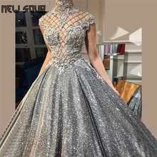 Glitter Ball Gowns Evening Dresses Appliques Cap Sleeves Prom Dress Muslim Dubai Design Arabic Pageant Gowns 2019 Robe de Soiree