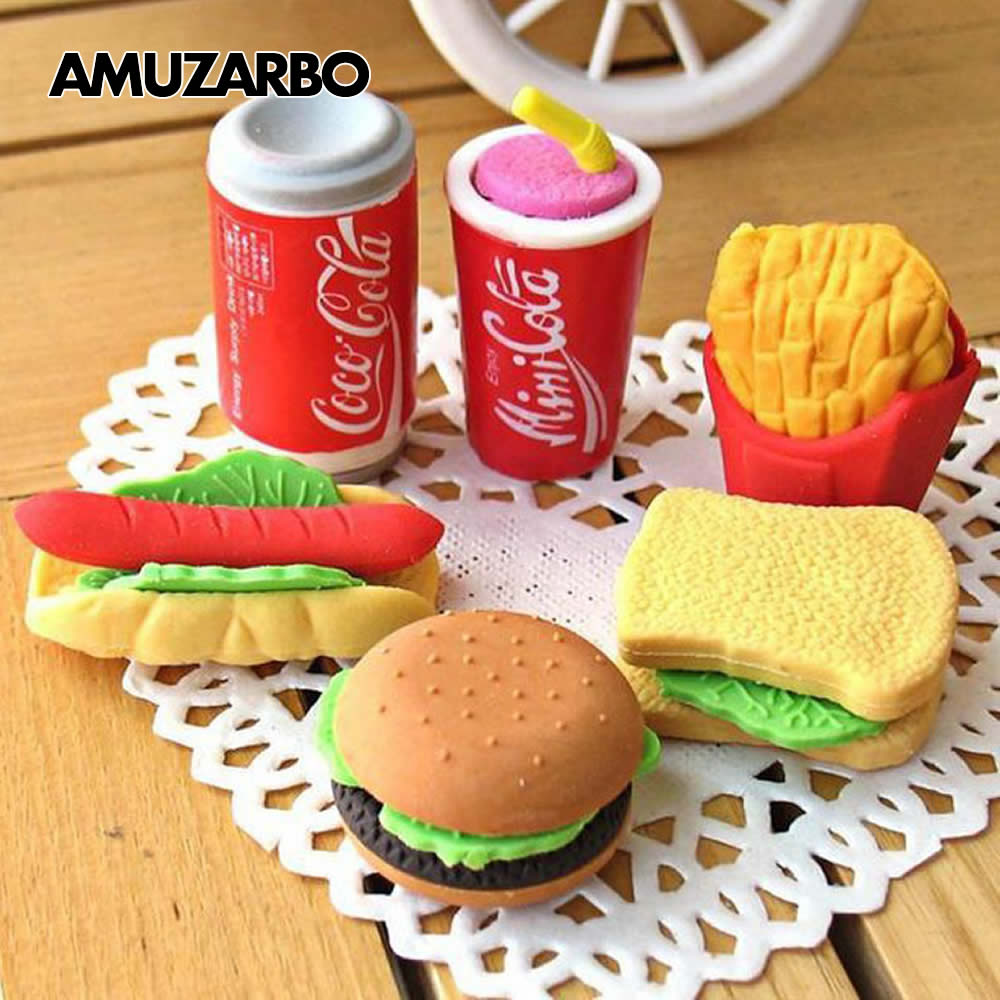 Cute Kawaii Stationery Eraser Correction Food Kids School Cake-Coke Gift Office French