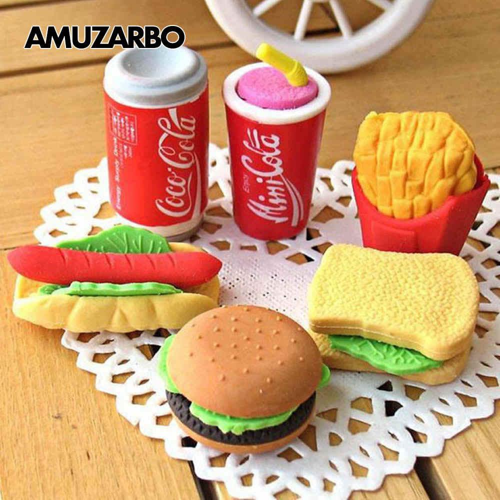 Bonito kawaii borracha hambúrguer bolo de coque alimentos batatas fritas cachorro quente escola escritório correção apagar suprimentos papelaria crianças presente