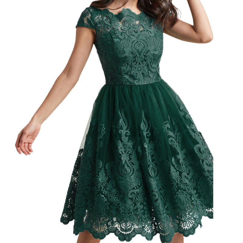 Dresses Friendly Women Vintage Lace Embroidery Dress Fashion Short Sleeve O Neck Knee-length A-line Dresses 2018 Summer Ladies Green Party Dress Making Things Convenient For The People