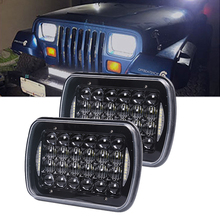 H4 7X6 5x7'Inch 24LED With DRL Headlight Bulbs Rectangular Off Road Headlamp For Jeep Offroad H6054 H5054 H6054LL 69822 6052/3 7x 6 5 x 7 inch black projector led headlights for jeep wrangler yj cherokee xj h6054 h5054 h6054ll 69822 6052 6053