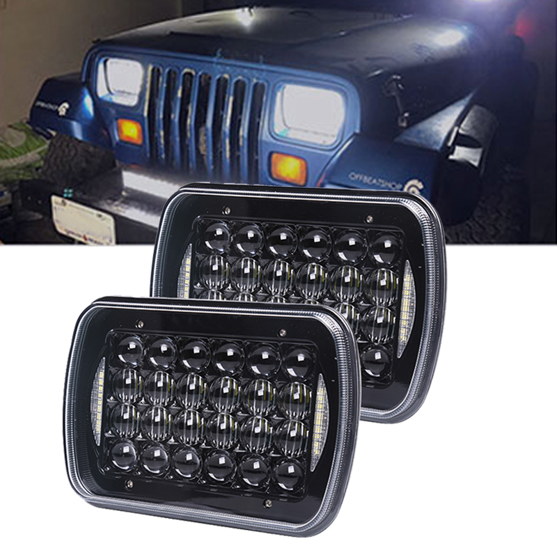 H4 7X6 5x7Inch 24LED With DRL Headlight Bulbs Rectangular Off Road Headlamp For Offroad H6054 H5054 H6054LL 69822 6052/3