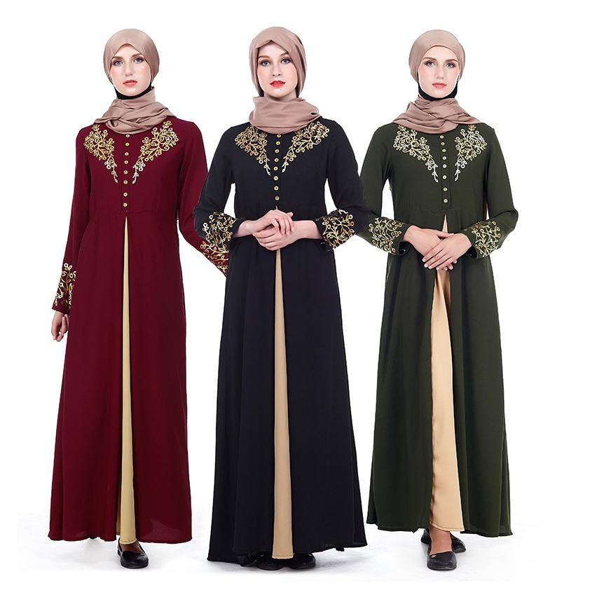 Women Muslim Gilding Maxi Dress Middle East Patchwork Prayer Garment Clothes Islamic Arab Robe Gown Worship Turkey A-line Slim image