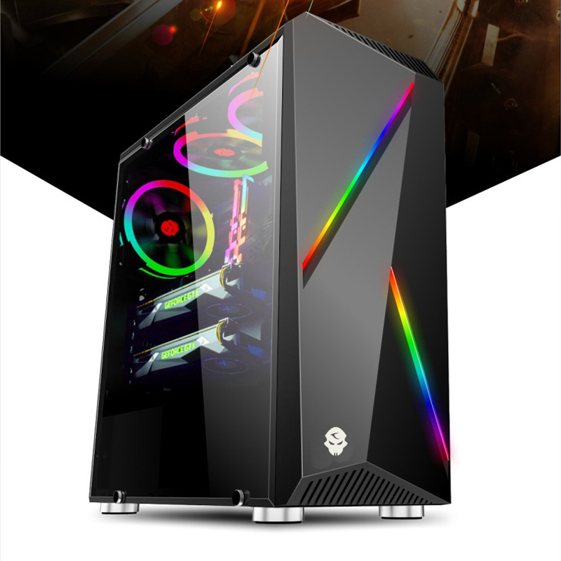 Gaming Case MicroATX Computer PC Cases Mini New Desktop Computer Case Chassis-RGB Light Side Mini PC Case Computer Tower