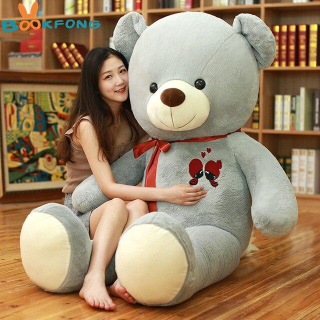 1 adet büyük oyuncak ayı peluş oyuncak güzel dev ayı büyük dolması yumuşak bebekler çocuk oyuncak doğum günü hediyesi kız arkadaşı için