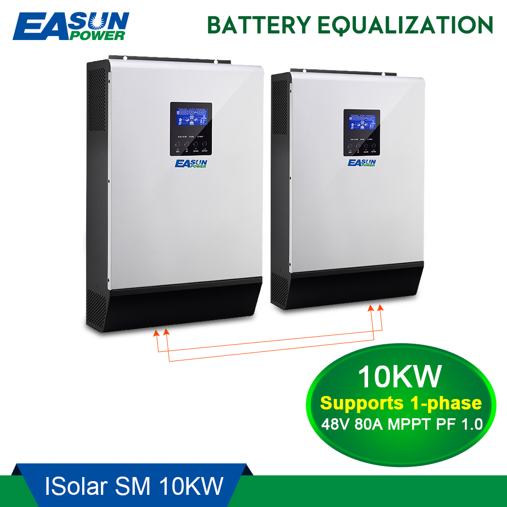 EASUN POWER 10KW Solar Inverter 80A MPPT Off Grid Inverter 48V 220V Pure Sine Wave Hybrid