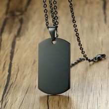 Men's Dog Tag Blank Pendant Necklace Standard Military Dogtag Black Stainless Steel Charm Plain Jewelry(China)