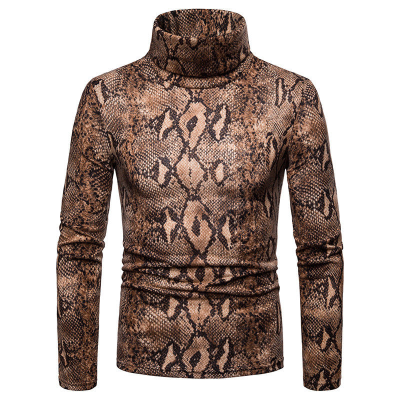 Mens High Neck Sweaters Turtleneck Sweater Winter Warm Snake Leopard Top Sweater Shirt Long Sleeved