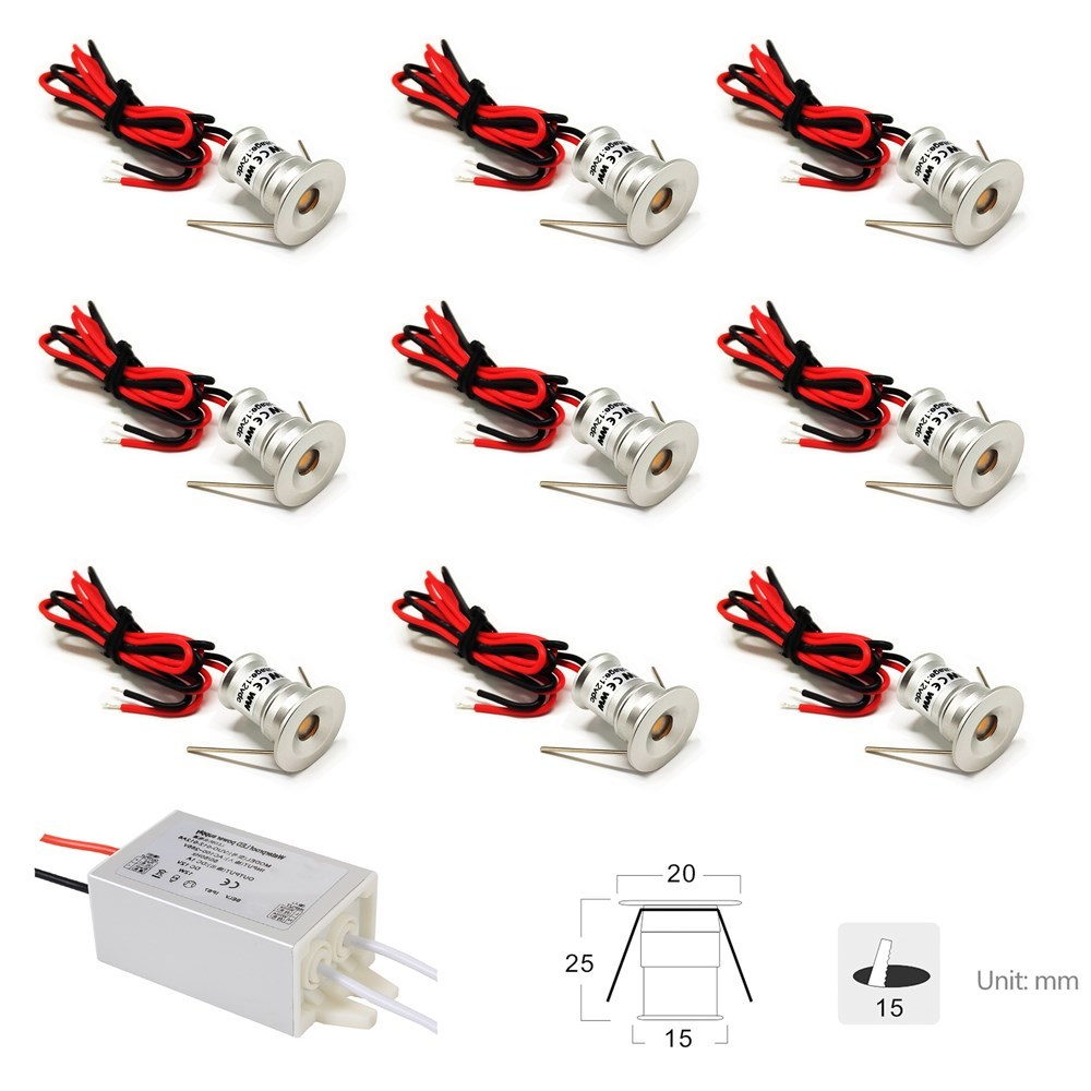<font><b>12V</b></font> <font><b>Led</b></font> <font><b>Downlight</b></font> Cabinet Mini Spot Light IP65 Ceiling Recessed Lighting Showcase Focos <font><b>Led</b></font> 1W Indoor Lighting 9PCS With Driver image
