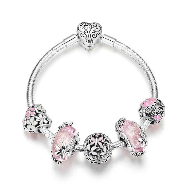925 Sterling Argent Jardin Fée Rose Européenne Verre Perles bracelets porte-bonheur et Bracelets Bijoux En Argent Sterling SCB821 BAMOER
