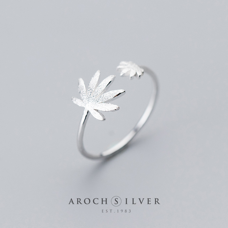 Image 5 - Factory Price 100% 925 Sterling Silver Fashion Concise Maple Leaf Open Ring Fine Jewelry for Female-in Rings from Jewelry & Accessories