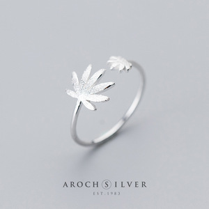 Image 5 - Factory Price 100% 925 Sterling Silver Fashion Concise Maple Leaf Open Ring Fine Jewelry for Female