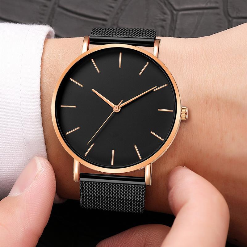 2020 moda kobiety czarne zegarki opaska siatkowa ze stali nierdzewnej kwarcowy zegarek luksusowe panie zegarek reloj mujer 3