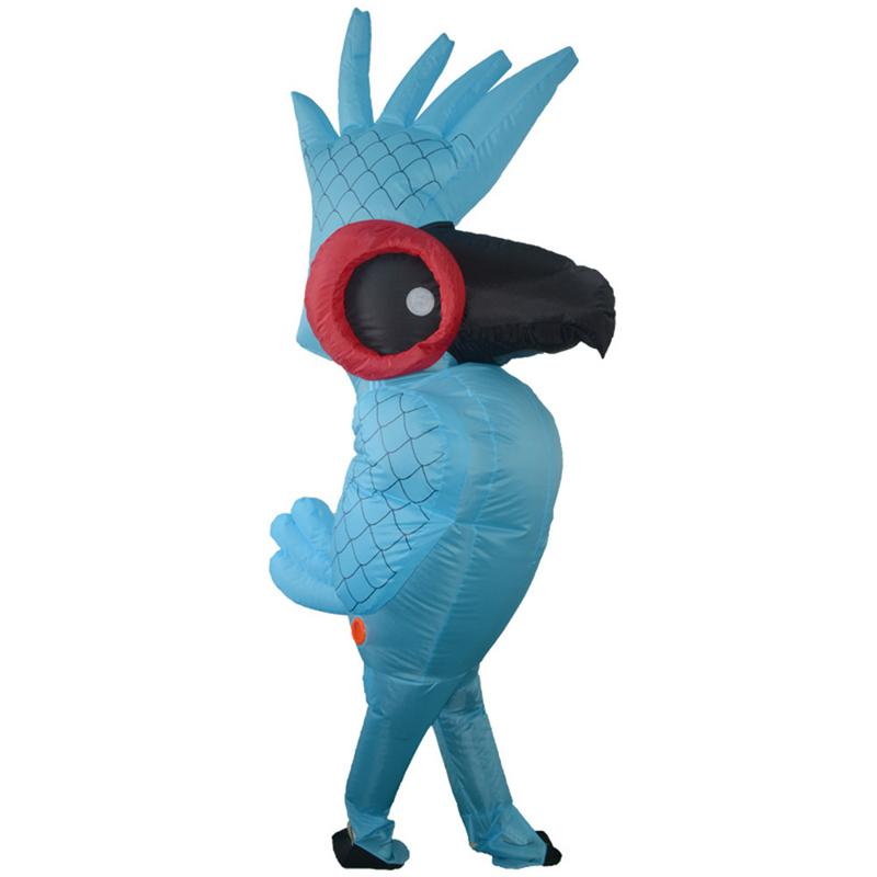 Inflatable Blue Parrot Cosplay Costume Cartoon Animal Cosplay Costume Parrot Clothes Adult Children Halloween Party Costumes