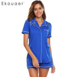 Image 2 - Ekouaer Women High Quality Pajamas Sets Nighties Turn down Collar Short Sleeve Elastic Waist Pocket Shorts Soft Pajama Set