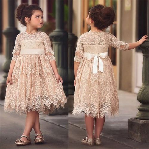 04554e6e0 Little Girls Lace Long Sleeve Dress Casual Kids Baby Girl Dress Princess Lace  Floral Party Wedding Gown Formal Dresses 3-8T