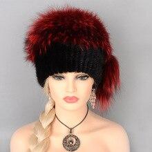 Real Piel de visón sombrero para las mujeres de lana de invierno de Mongolia  sombrero zorro 528d48286267