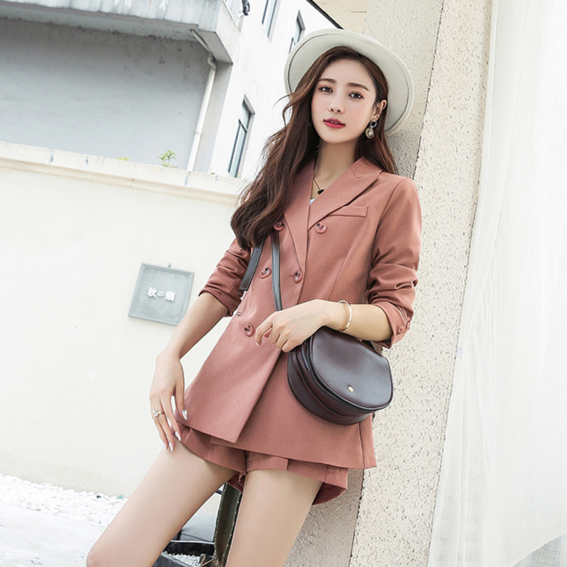 Casual 2 Pieces Set Fashion Short Suits Notched Collar Blazer Jacket & Sashes Shorts Women Pant Suits Wear To Work Suits E080