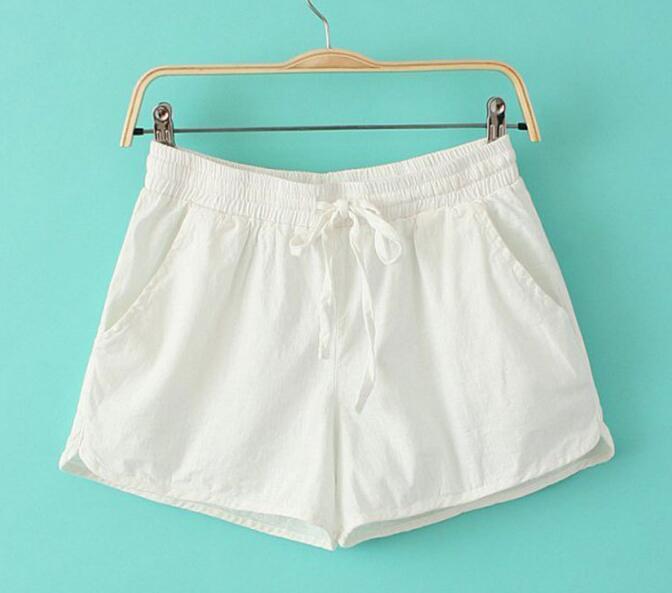 2019 summer wind female candy color linen COTTON   shorts   women plus size