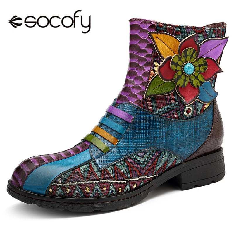 Socofy ข้อเท้า Retro รองเท้าผู้หญิง Handmade ดอกไม้ของแท้หนัง Splicing Bohemian Western Boots ซิปซับในฤดูหนาวรองเท้า-ใน รองเท้าบูทหุ้มข้อ จาก รองเท้า บน   1