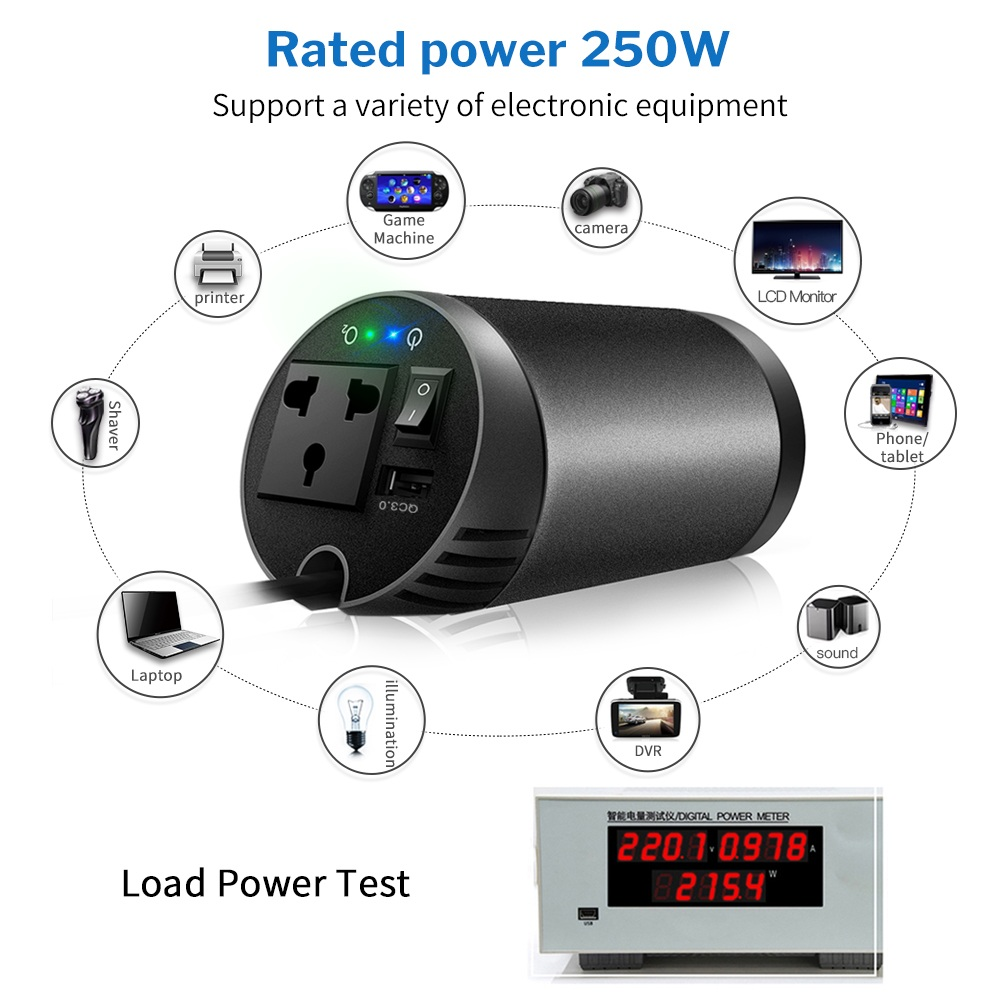 XP Car Inverter 12V DC to 220V AC Auto Power Inversor 12 V 220 V with QC 3 0 USB Charger Air Purifier 230 Volt Voltage Converter in Car Inverters from Automobiles Motorcycles