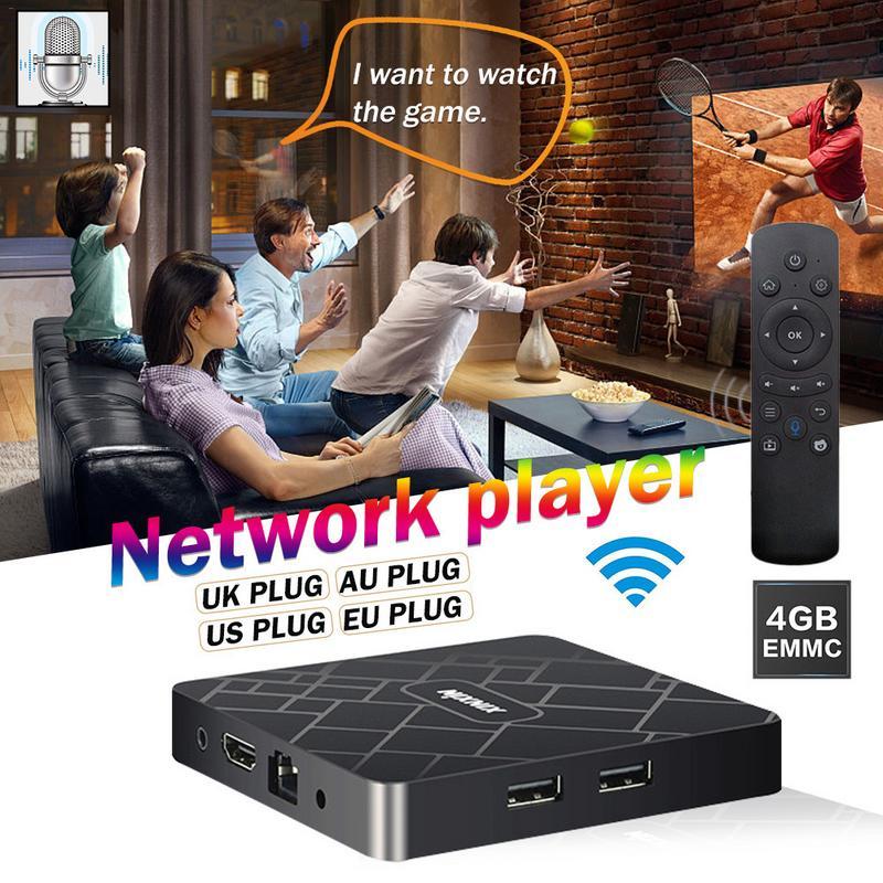 4 + 32 lecteur réseau TV AI Voice Intelligent 4G décodeur WIFI maison sans fil télécommande AI TV Box Smart TV 4 K décodeur