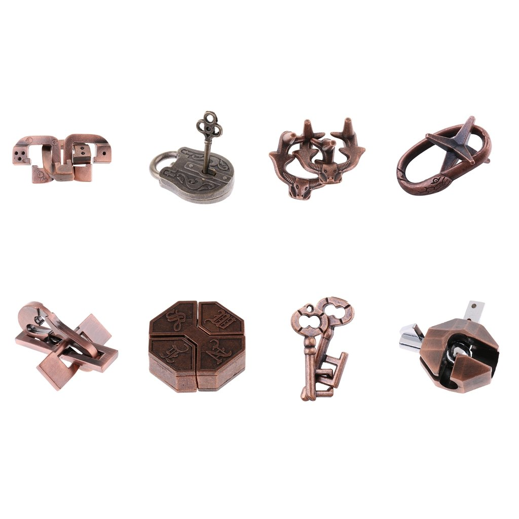 8pcs Chinese Castle Locks Puzzles Lock Brain Teaser IQ Test Toy for Adults Kids Gift