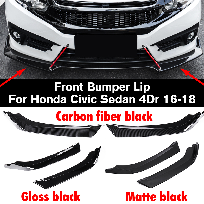 A Pair Car Universal Front Bumper Lip Splitter Wrap Angle Splitters Spolier For Honda For Civic Sedan 4Dr 2016 2018 Anti Scratch