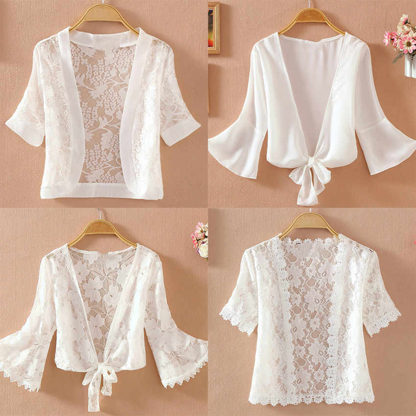 Summer Thin Lace White Shirt Women's Sunscreen Chiffon Blouse Short Sleeve Hollow Out Cardigan Tops Camisas Mujer 2019