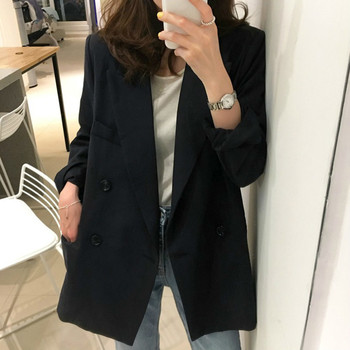 High Quality Fashion Bouble Breasted Women Blazer Spring Black Pockets Jackets Female Retro Suits Coat Work Feminino Outerwear