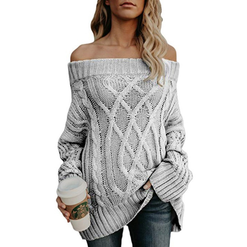 Detail Feedback Questions about 2018 Knitting Sweater Autumn And Winter Warm  Thickening Strapless Off Shoulder Winter Clothes Women Pullover Sueter  Mujer ... 65a941751d2e