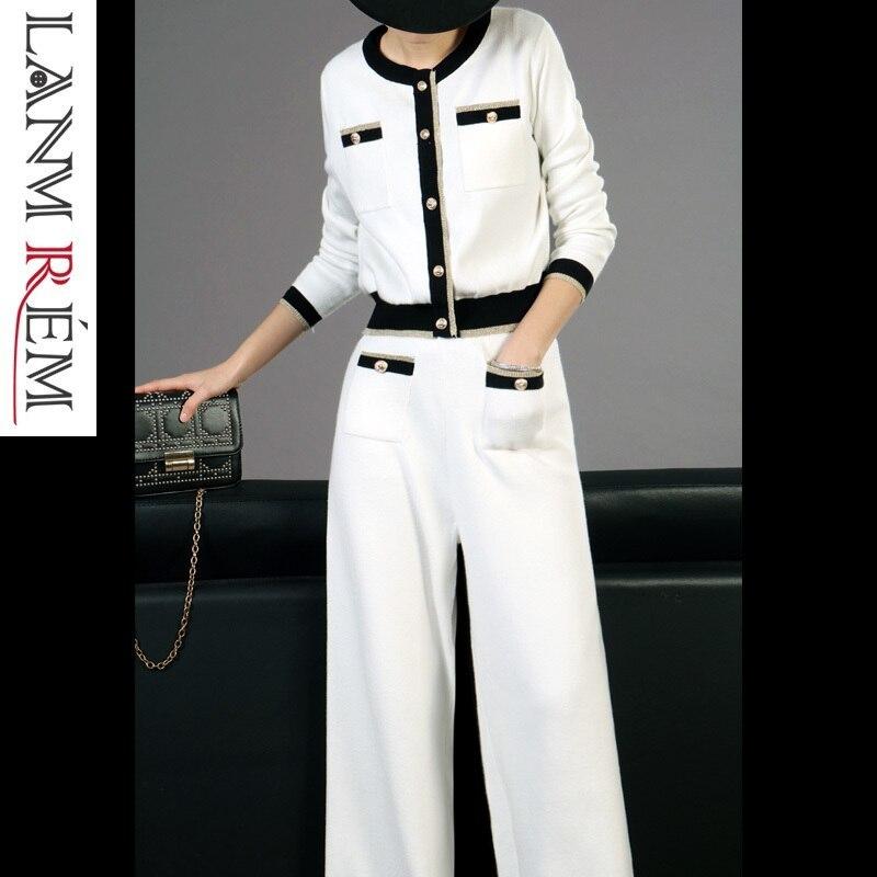 LANMREM 2019 New Fashion Spring High Quality White Knit Short Type Coat Loose Wide Leg Pants