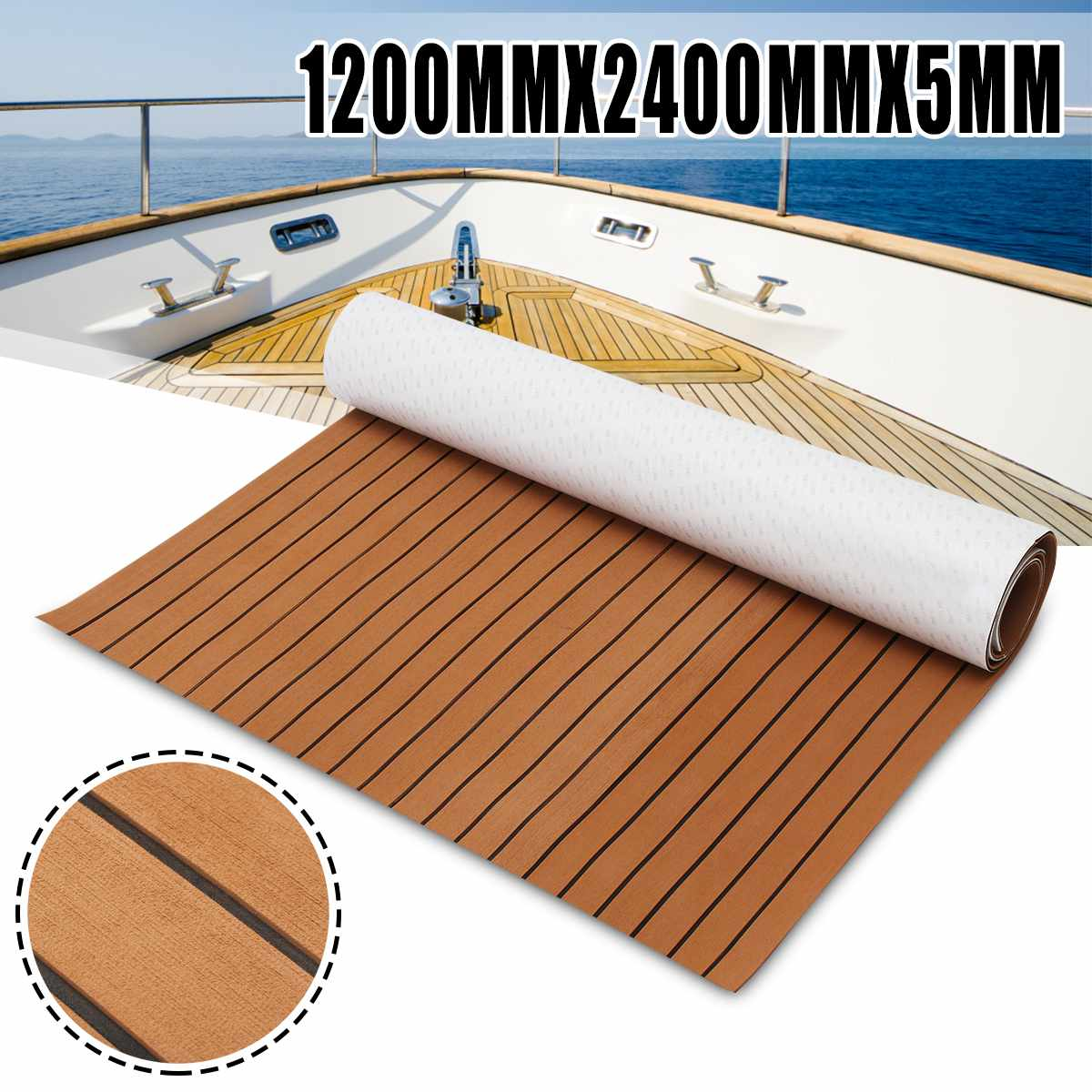 Self-Adhesive 1200mmx2400mmx5mm Foam Teak Decking EVA Foam Marine Flooring Faux Boat Decking Sheet Marine Brown Black