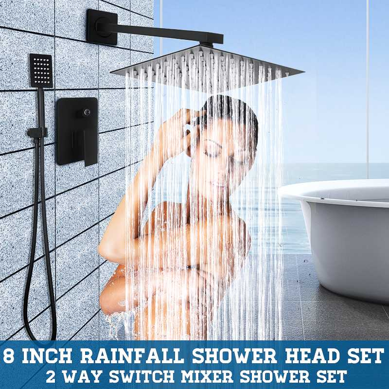 8 Inch Black Square Rainfall Shower Set Bathroom Shower Head Faucet Wall Mounted Mixer Tap Ultrathin Handheld Shower Spray Set8 Inch Black Square Rainfall Shower Set Bathroom Shower Head Faucet Wall Mounted Mixer Tap Ultrathin Handheld Shower Spray Set
